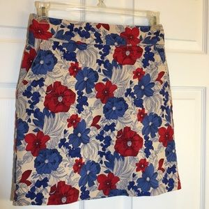 Talbots Tan and Floral Skirt Size 4
